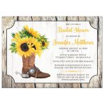 Rustic western bridal shower invitation with sunflowers and cowboy boot in yellow, brown, gray, and beige wood.