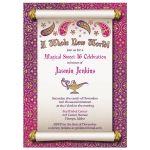 ​Fabulous Arabian Nights magic genie lamp fairy tale sweet 16 birthday invitation front