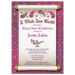 Fabulous Arabian Nights magic genie lamp fairy tale sweet 16 birthday invitation front