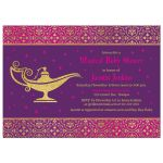 Unique Arabian Nights Aladdin magic genie lamp fairy tale baby shower invitation back