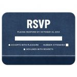Dark blue bar mitzvah RSVP/reply cards with darker blue and white border