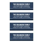 Elegant dark blue address labels with bold, white text and a white and darker blue border