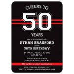 Black, red, white striped 50th birthday invitation for a man with a sports theme.​