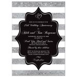 25th wedding anniversary invitation in black, silver and white stripes with romantic joined hearts.