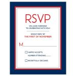 Navy blue, red, grey and white traditional Bar Mitzvah RSVP card