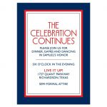 Navy blue, red, grey and white traditional Bar Mitzvah reception party insert card