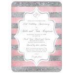 25th wedding anniversary invitation in white, silver, and rose gold or blush pink stripes with romantic joined hearts.