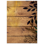 Splash of glitter on silhouette of leaves on rustic wooden slats