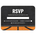 Modern basketball RSVP cards with rough, printed texture