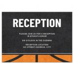 Modern basketball reception/enclosure cards with rough, printed texture