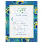 Bright blue, green, and yellow peacock feather Bat Mitzvah RSVP