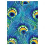 Bright blue, green, and yellow peacock feather Bat Mitzvah reception party insert card back