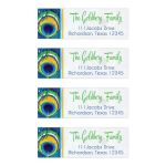 ​Bright blue, green, and yellow peacock feather Bat Mitzvah address labels