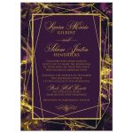Aubergine purple and gold marble wedding invitation with gold geometric shape and photo template.