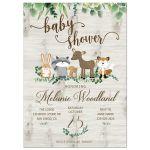 Gender Neutral Woodland Baby Shower Invitation / Greenery Forest Animals