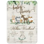 Gender Neutral Woodland Baby Shower Invitation / Greenery Forest Animals