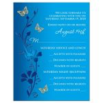 ​Royal Blue, teal blue and gold floral Bat Mitzvah RSVP cards with gold butterflies and turquoise flowers.
