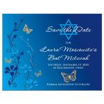 Royal Blue, teal blue and gold floral Bat Mitzvah save the date postcard with gold butterflies and turquoise flowers with Star of David.