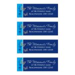 personalized royal blue, teal blue, and white Bat Mitzvah return address labels with metallic look flowers and gold butterflies.