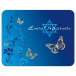 Personalized royal Blue, teal blue and gold floral Bat Mitzvah thank you note card with gold butterflies and turquoise flowers with Star of David.