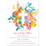 Bright watercolor flowers Baptism or Christening invitation with large cross and photo template in pink, yellow, blue, orange, red, and teal.