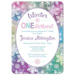 Winter Onederland Invitations - Rainbow Snowflake 1st Birthday