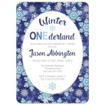 Winter Onederland Invitations - Navy Blue Snowflake 1st Birthday