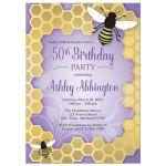 Birthday Invitations - Purple Honeycomb Bee