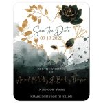 Green, gold, black, and white watercolor floral heart wreath wedding save the date card with photo template and roses.