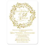 Elegant simulated gold and white celebrating 50 years 50th wedding anniversary invitation