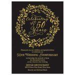 Elegant simulated gold and black celebrating 50 years 50th wedding anniversary invitation