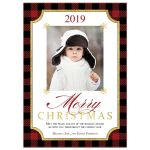​Red and Black Buffalo plaid check pattern Merry Christmas photo template Xmas or Holiday card with simulated gold foil.
