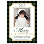 Rustic green and black Buffalo plaid check pattern Merry Christmas photo template Xmas or Holiday card with simulated gold foil.