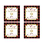 Personalized and rustic red, black, gold, and white Buffalo Plaid pattern envelope seals or square stickers with a gold snowflake.