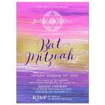 Purple Pink Ombre Gold Bat Mitzvah Invite