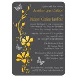 ​Modern yellow and charcoal grey photo wedding invitation with flowers, vines, and silver butterflies on it.