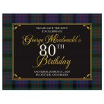 ​Scottish MacDonald tartan 80th birthday save the date postcard front