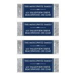 Traditional navy blue and silver grey Bar Mitzvah return address mailing labels with white scroll ornament.