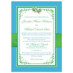 Malibu blue, lime green, and white wedding invites with flowers, ribbon, bow, jewels, glitter, joined hearts, scrolls and romantic verse.