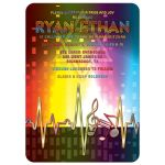 Unique light spectrum, heartbeat and music notes music Bar Mitzvah invitation or music Bat Mitzvah invitation front