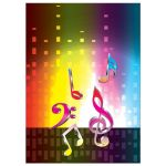Unique light spectrum, heartbeat and music notes music Bar Mitzvah invitation or music Bat Mitzvah invitation back