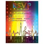 Unique light spectrum, heartbeat and music notes music Bar Mitzvah RSVP card or music Bat Mitzvah RSVP card front