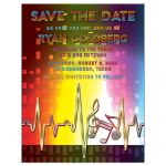 ​Unique light spectrum, heartbeat and music notes music Bar Mitzvah save the date front