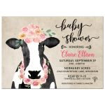 Floral Cow Baby Shower Invitation for a Baby Girl