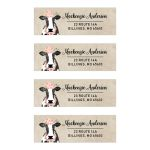 Cow Themed Return Address Labels, Floral Rose Watercolor Flower Cow