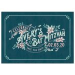 ​Unique teal and blush pink floral vintage Bat Mitzvah save the date announcement