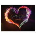 Rainbow colored wedding save the date post card with smoke and fire heart.