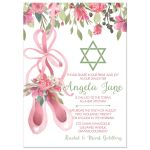 Ballet dance Bat Mitzvah invitation in pink and green for ballet dancer