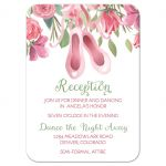 ​Ballet dance Bat Mitzvah reception party insert card in pink and green for ballet dancer