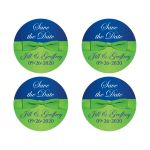 Great royal blue, white and lime green wedding return address labels or envelope seals